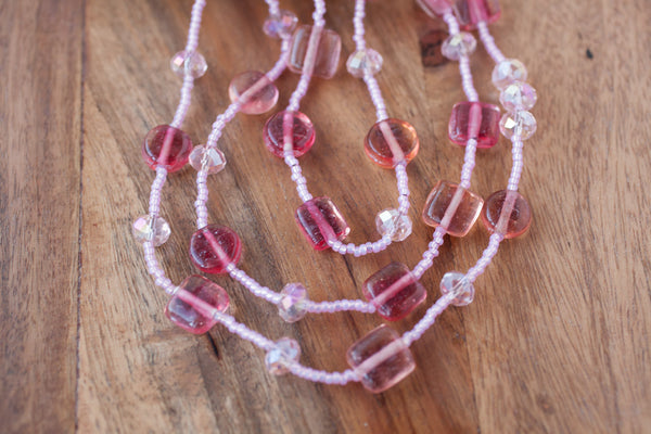 "60"" Pink Glass & Crystal Necklace"