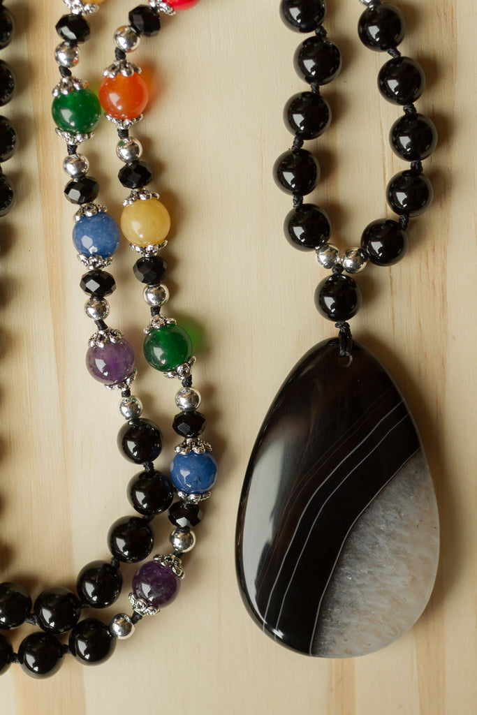 "28"" Long Black Agate Pendant Necklace with Jade & Mixed Gemstone Beads"