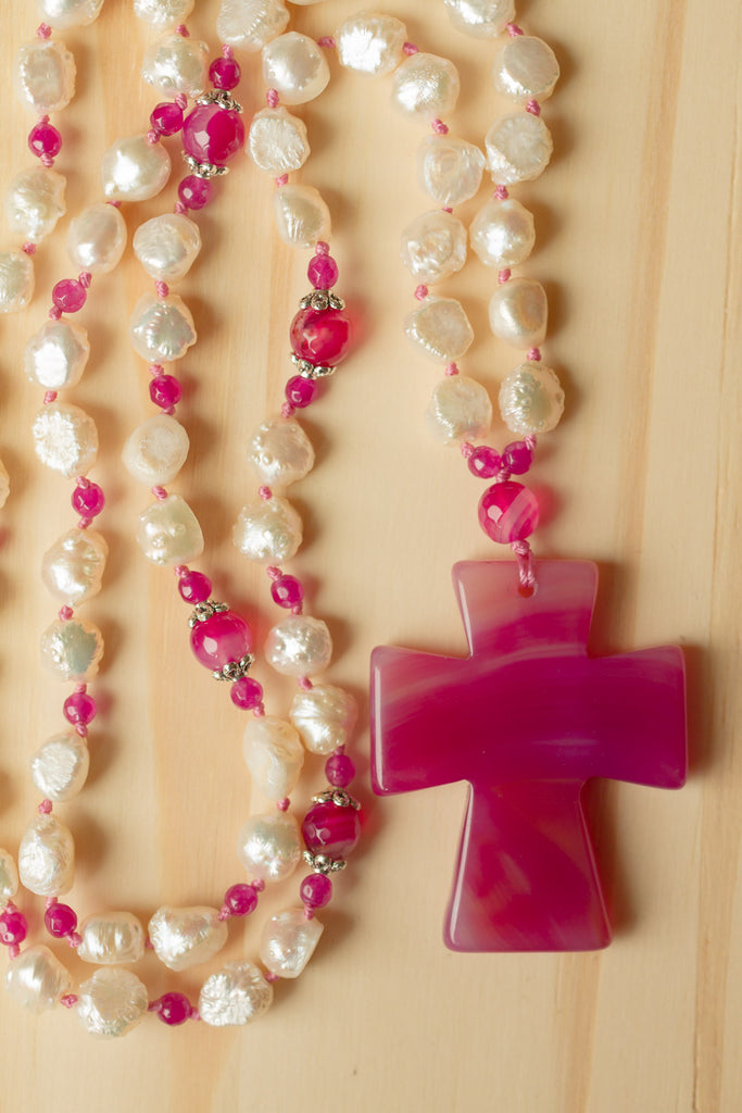 "29"" Long Hand Knotted Pink Agate Cross Necklace with White Pearls & Agate Beads"