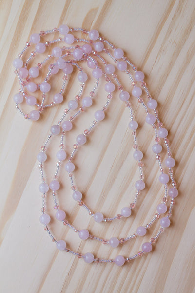 "62"" Long Wraparound Pale Pink Jade & Crystal Beaded Necklace"