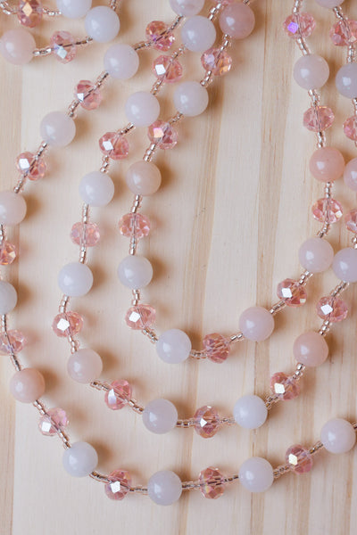 "60"" Long Wraparound Peach Agate & Crystal Beaded Necklace"