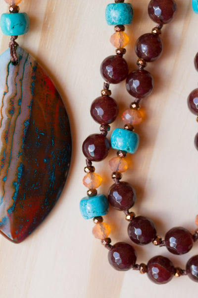 "30"" Long Brown Striped Agate Pendant Necklace with Agate, Turquoise & Orange Crystal Beads"