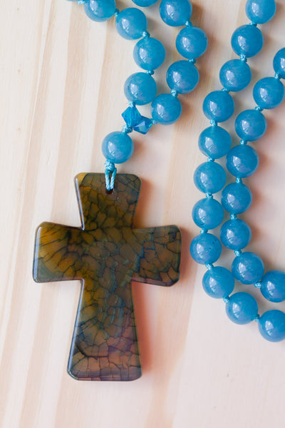 "28"" Long Dragon Vein Agate Cross Pendant Necklace with Angelite"