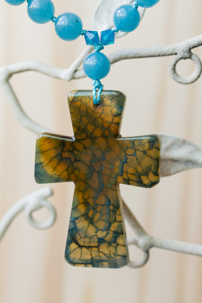 "28"" Long Dragon Vein Agate Cross Pendant Necklace with Angelite Beads"
