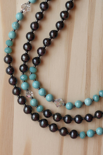 "60"" Extra Long Wraparound Black Fresh Water Pearl Turquiose and Crystal Beaded Necklace"