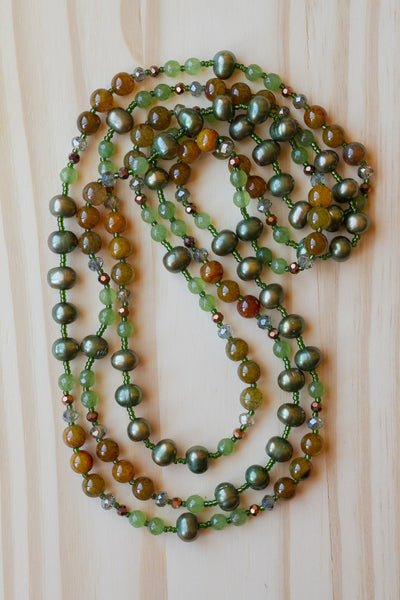 "60"" Extra Long Wraparound Multi-Wrap Necklace with Green Pearls and Dragon Vein Agate Beads"