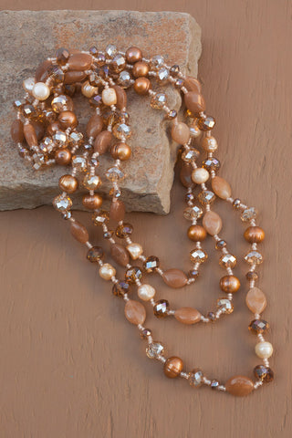 "60"" Red Aventurine, Freshwater Pearl & Crystal Necklace"