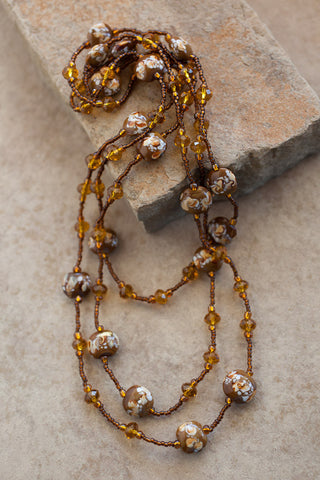 "60"" Brown Art Glass & Crystal Necklace"