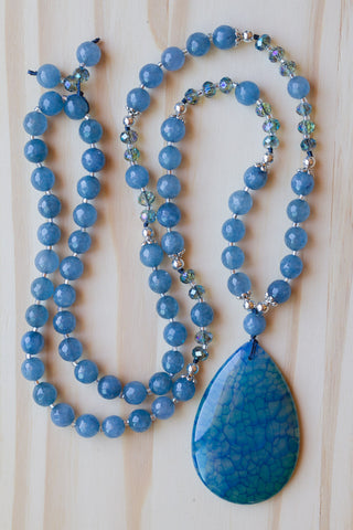 "30"" Long Hand Knotted Blue Dragon Vein Agate Pendant Necklace with Agate & Crystal Beads"