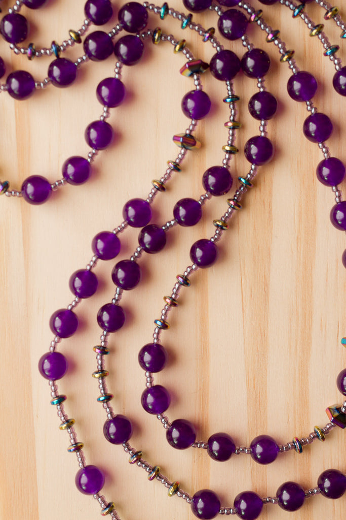 "60"" Extra Long Amethyst Purple Glass Beaded Necklace with Rainbow Coated Hematite Beads"