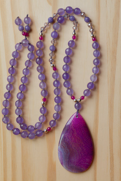 "30"" Long Purple Pink Dragon Vein Agate Beaded Pendant Necklace with Lavender Agate Beads"