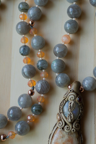 "30"" Long Hand Knotted Clay Pendant Necklace with Labradorite & Peach Agate Beads"