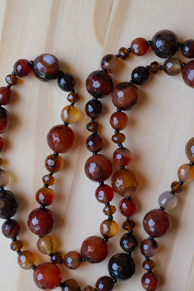 "30"" Black Brown Agate Beaded Necklace with Crystal Beads"