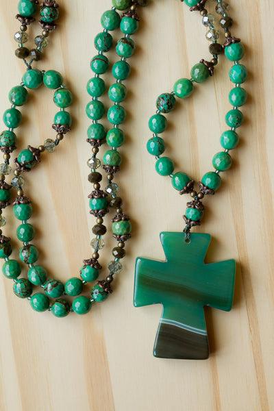 "30"" Long Green Agate Cross Pendant Necklace with Dark Green Turquoise Beads"