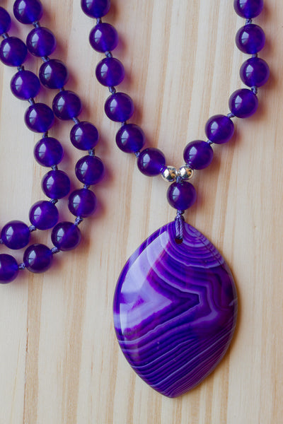 "28"" Purple Agate Pendant Necklace with Amethyst Colored Glass Beads"