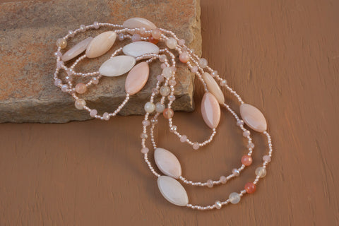 "60"" Pink/Peach Aventurine & Crystal Necklace"