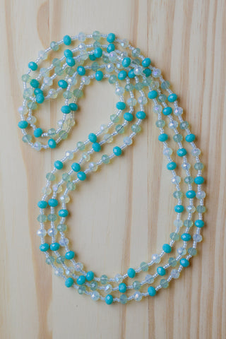 "60"" Extra Long Wraparound Turquoise, Peridot Green & Pale Lemon Crystal Beaded Necklace"