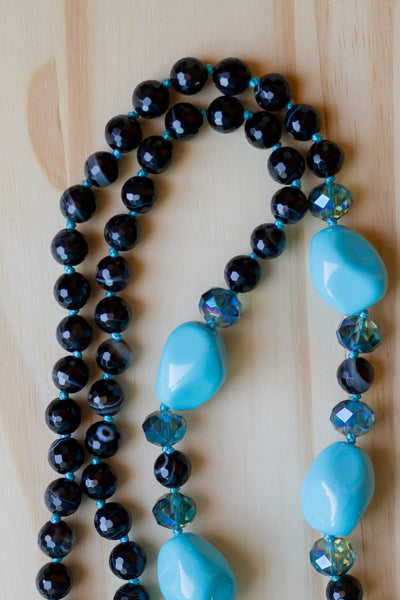 "28"" Long Turquoise Color South Sea Shell Pearl Nuggets with Black Striped Agate & Crystal Beads"