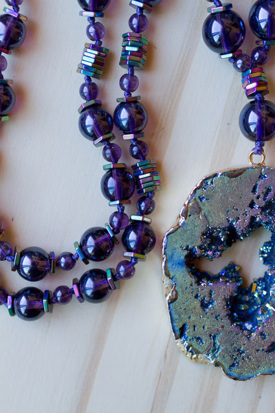 "28"" Long Titanium Druzy Pendant Necklace with Mauve Purple Glass & Rainbow Hematite Beads"