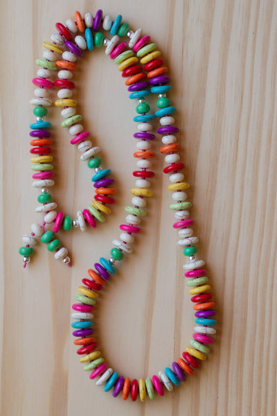 "28"" Long Rainbow of Colors Howlite Necklace Beaded Strand"