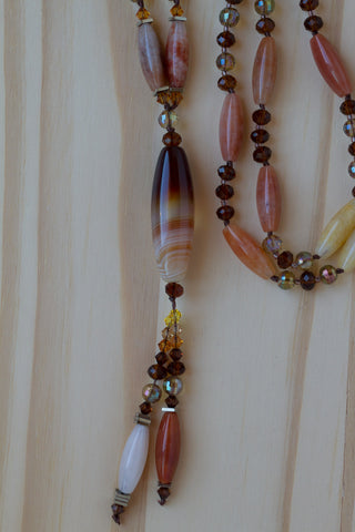 "29"" Long Agate Column Bead Dangle Necklace with Agate & Crystal Beads"