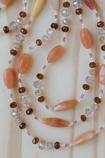 "60"" Extra Long Agate Beaded Necklace with Brown & Champagne Crystal Beads"