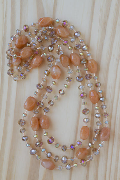 "60"" Extra Long Red Aventurine Nugget Beaded Necklace with Crystal Beads"