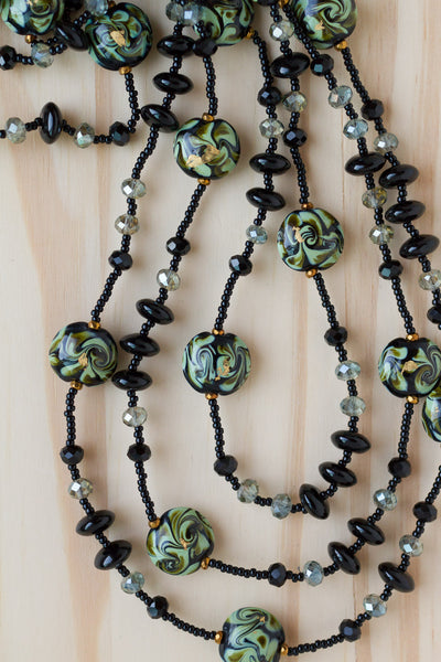 "60"" Extra Long Green and Black Art Glass Necklace with Black Crystal Beads"