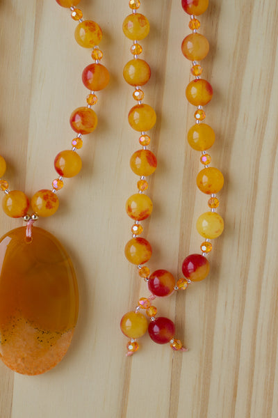 "28"" Long Orange Agate Pendant Necklace with Jade & Crystal Beads"