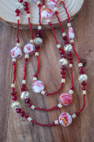 "60"" Red, Yellow & White Glass & Crystal Necklace"