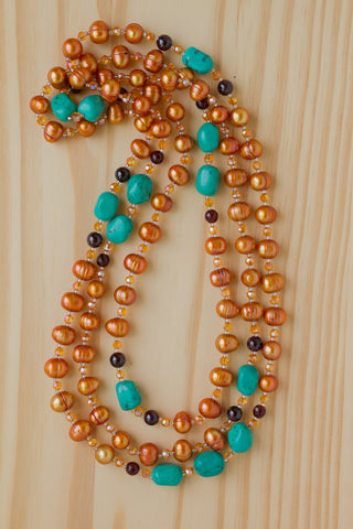"60"" Extra Long Wraparound Orange Pearl Necklace with Turquoise, Garnet & Agate Beads"