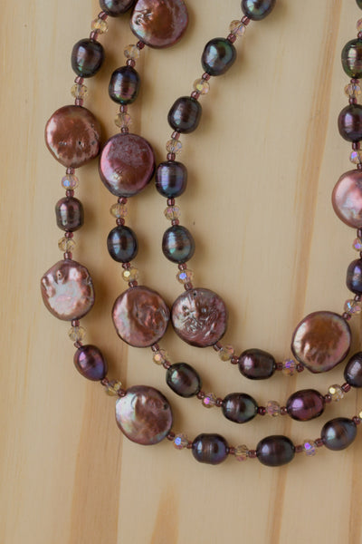 "60"" Extra Long Brown/Purple Coin Pearl Wraparound Necklace with Crystal Beads"