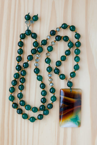 "28"" Long Brown & Green Agate Pendant Beaded Necklace with Green Agate & Crystal Beads"