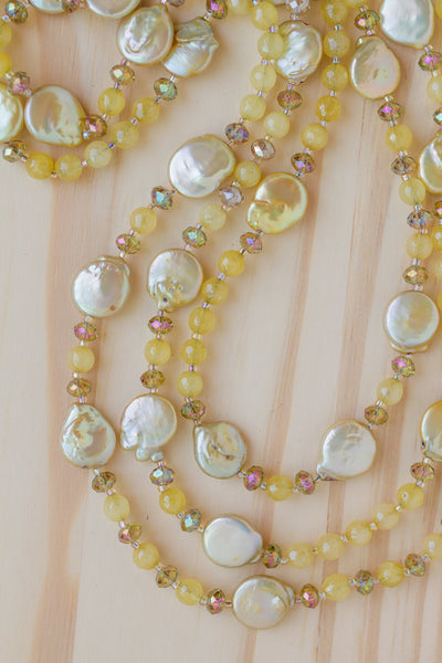 "62"" Extra Long Wraparound Chartreuse Coin Pearl Necklace with Agate & Crystal Beads"