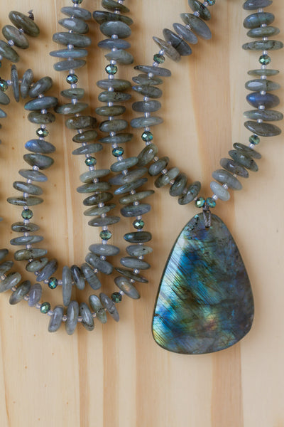 "28"" Long Labradorite Pendant Necklace with Labradorite Chip & Crystal Beads"
