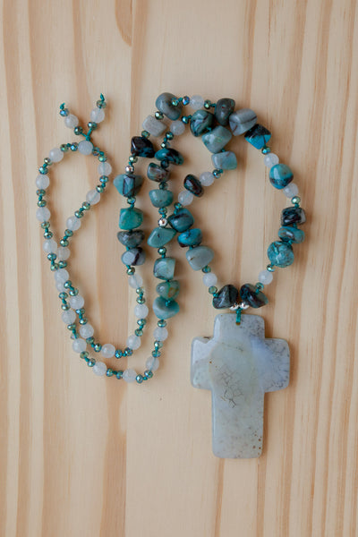 "28"" Long Light Grey Agate Cross Beaded Necklace with Tumbled Amazonite, Agate & Crystal Beads"