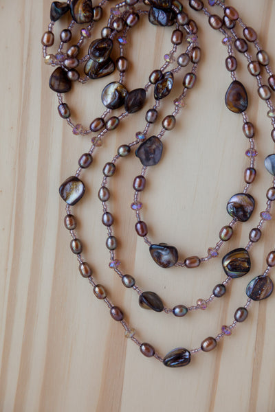 "60"" Extra Long Wraparound Beaded Necklace with Brown Shell, Pearl & Crystal Beads"