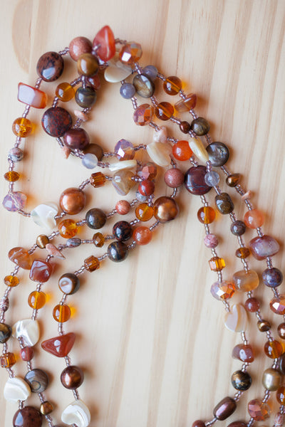 "60"" Extra Long Shades of Brown Beaded Necklace"