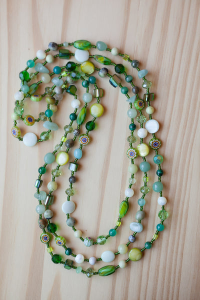 "60"" Extra Long Shades of Green Beaded Necklace"
