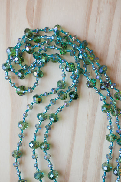 "60"" Extra Long Teal Crystal beaded Necklace"