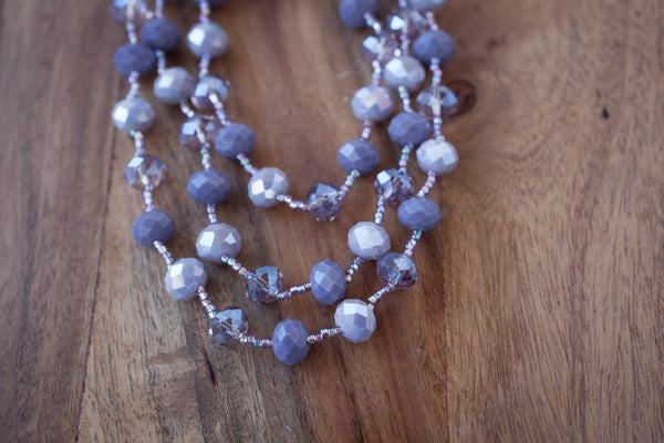 "60"" Mauve/Purple Crystal Necklace"