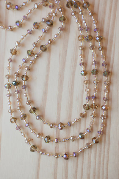 "60"" Extra Long Champagne Colored Crystal Beaded Necklace"