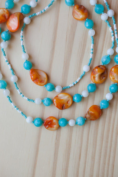 "60"" Extra Long Orange Shell Beaded Necklace with Turquoise & White Agate Beads"
