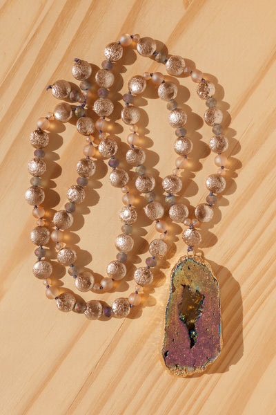 "28"" Long Titanium Druzy Pendant Beaded Necklace with Czech Glass Beads"