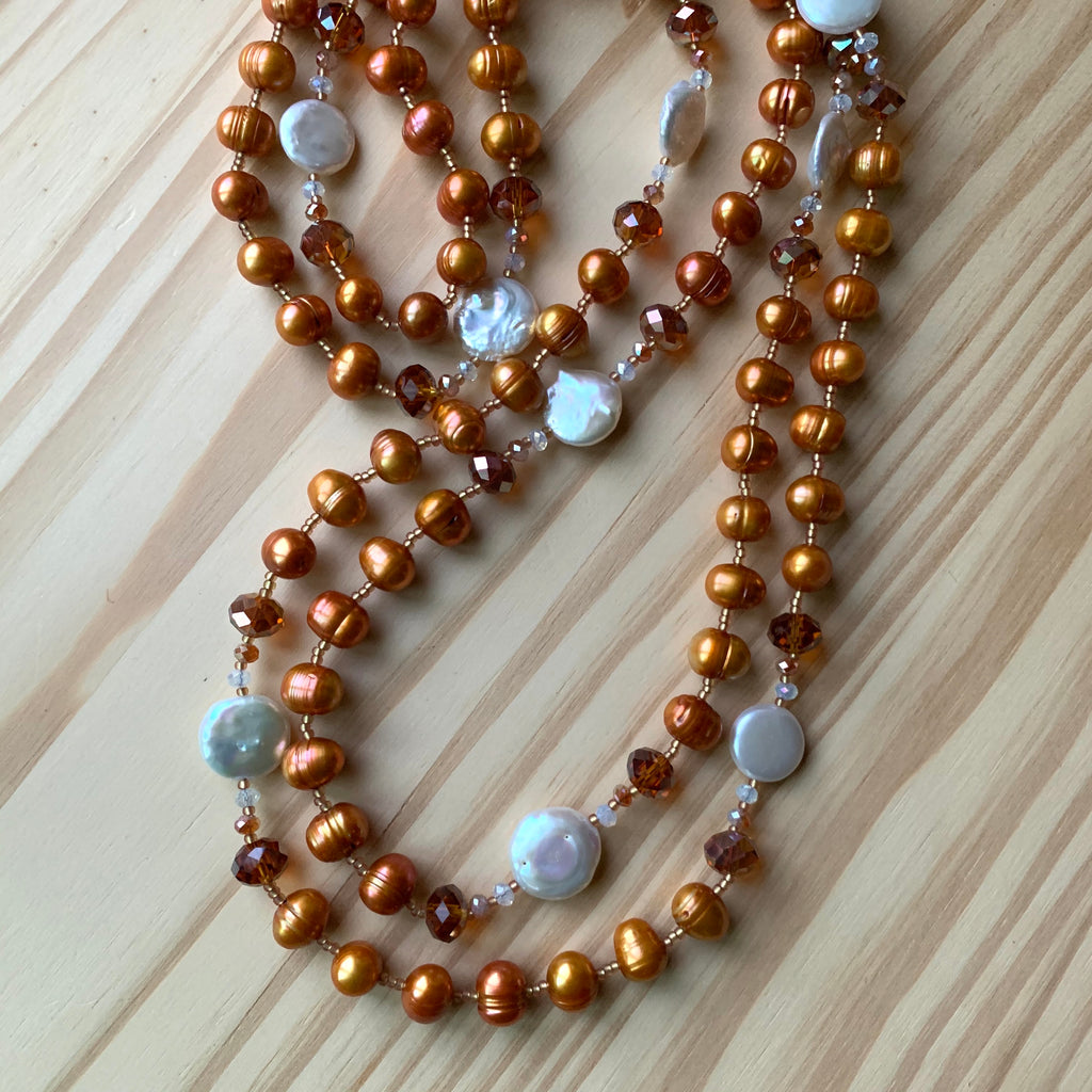 "Custom 64"" Extra Long Coppery Orange Pearl Necklace with White Coin Pearl"