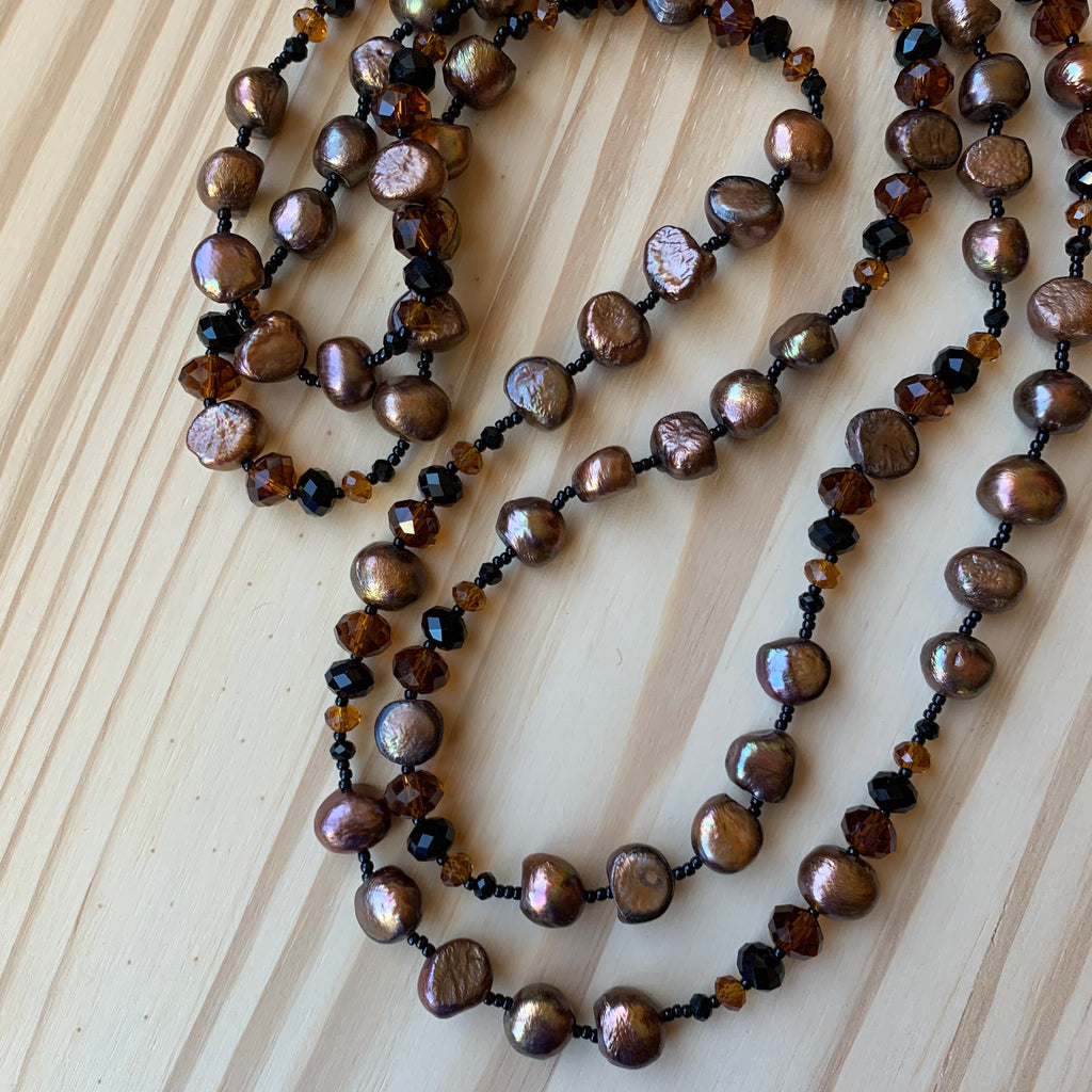 "Custom Extra Long 60"" Brown Pearl Beaded Necklace"