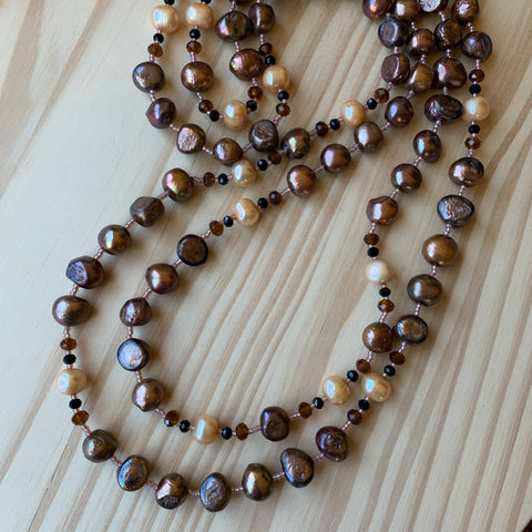 "Custom Extra Long 60"" Beaded Brown Pearl Necklace"