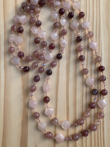 "Custom 62"" Extra Long Strawberry Quartz Beaded Necklace with Rose Quartz & Crystal"