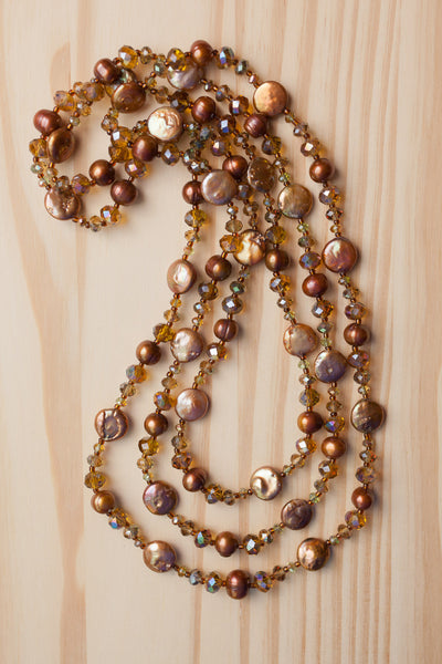 "60"" Extra Long Wraparound Copper Color Coin Pearl Necklace with Crystal Beads"