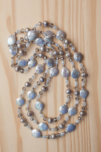 "60"" Extra Long Pale Grey Coin Pearl Beaded Necklace with Crystal Beads"